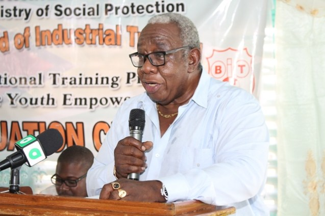 Chairman of the Board of Industrial Training (BIT), Clinton Williams encouraging the youths at the graduation ceremony.