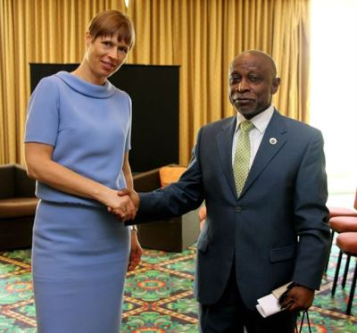 Vice President and Minister of Foreign Affairs, the Honourable Carl B. Greenidge, and President of the Republic of Estonia, Her Excellency Kersti Kaljulaid.