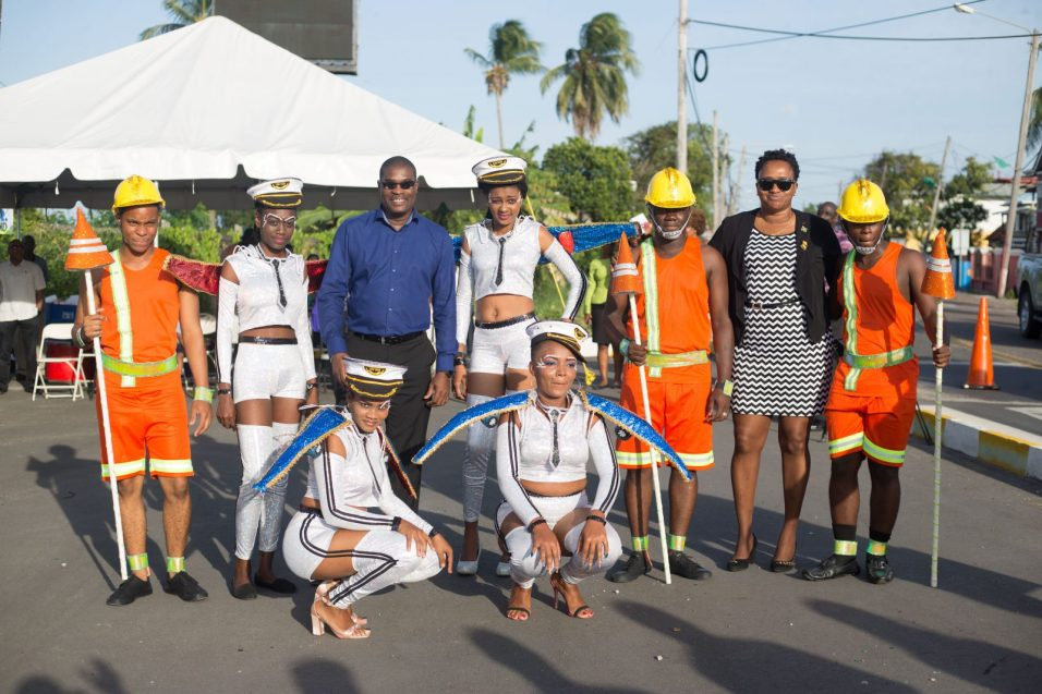 Ministers of Public Infrastructure, David Patterson and Annette Ferguson with the revellers