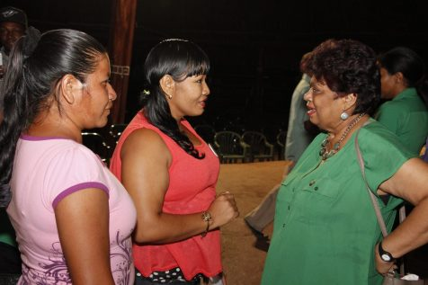 Minister of Social Protection, Amna Ally engaging two residents from St. Ignatius after the meeting