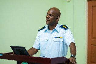 Director General (Ag) of the Civil Defence Commission, Lieutenant Colonel Kester Craig delivers remarks.