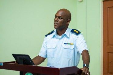 Director General (Ag) of the Civil Defence Commission, Lieutenant Colonel Kester Craig delivers remarks.