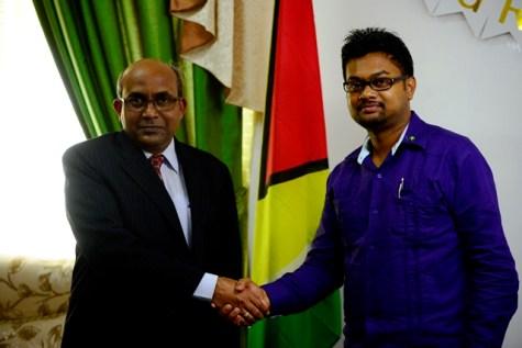 Mayor of Georgetown, His Worship Ubraj Narine and High Commissioner of India to Guyana, H.E. V. Mahalingam.