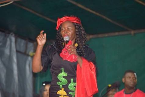 """Daria 'Queen Dairy' Thompson opened the competition with her first performance """"Dis Unscrupulous Landlord""""."""