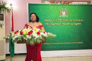 Ms. McAlmont (SAO) to China delivering the 49th Republic Anniversary message.