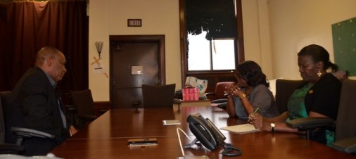 Minister of State, Mr. Joseph Harmon meets with Ms. Beryl James, Secretary of the Guyana United Youth Development Association (GUYDA) and another representative