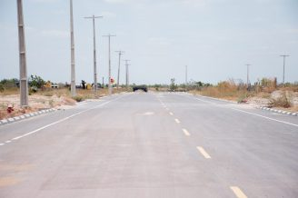 A section of road in the Lethem Industrial Estate