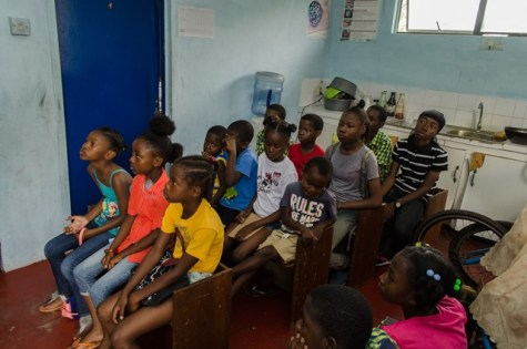 Young people from the North Ruimveldt Youth Group participating in a phonics class.
