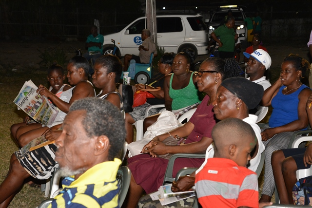Residents at the meeting at Tucville football ground.
