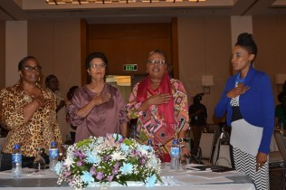 From left to right are Ministry of Social Protection, Permanent Secretary, Loraine Baird, Retired Chief Probation Officer, Sylvia Conway, Director of Childcare and Protection Agency, Ann Greene and Ministry of Social Protection, Deputy Director of Social Services, Abike Benjamin- Samuels.