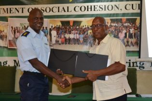 [In the photo, from left] Deputy Vice-Chancellor, Academic Engagement, University of Guyana, Professor Michael Scott and Director-General (ag) of the Civil Defence Commission, Lieutenant Colonel Kester Craig