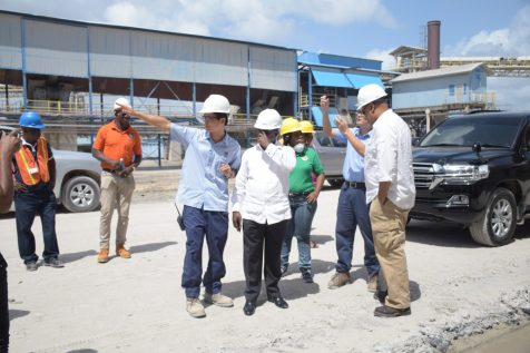 Minister of Natural Resources, Raphael Trotman and South Africa's Deputy Minister of Mineral Resources, Godfrey Oliphant, during the tour of Bosai Minerals Group Guyana Inc
