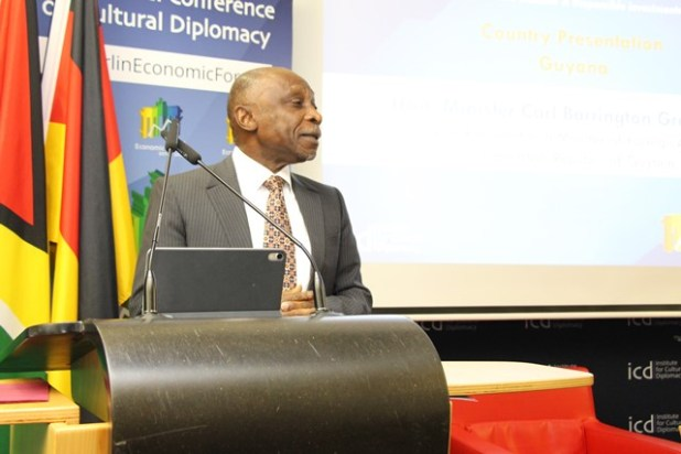 Vice President and Minister of Foreign Affairs, the Honourable Carl Greenidge delivers a keynote address at the Berlin Economic Forum.
