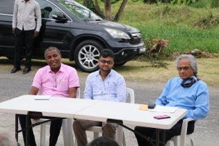 [In the photo, from right to left] President of the Lamaha Gardens Community Co-op Society, Ronald Ally, Mayor of Georgetown, Ubraj Narine and Deputy Mayor of Georgetown, Alfred Mentore