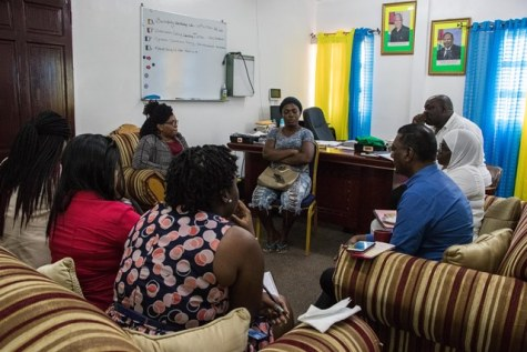 Mother of the child, Cassandra Arthur meeting with staff of the Ministry of Public Health and Regional Health Service Department, Region 6.