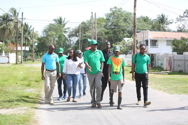 Minister of State, Joseph Harmon, Civil Defence Commission Director-General (ag), Lieutenant Colonel Kester Craig and team during Sunday morning's walkabout.