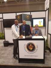 Minister Trotman along with Mr. Peter Benny and Ms. Miranda LaRose of Guyana Goldfields