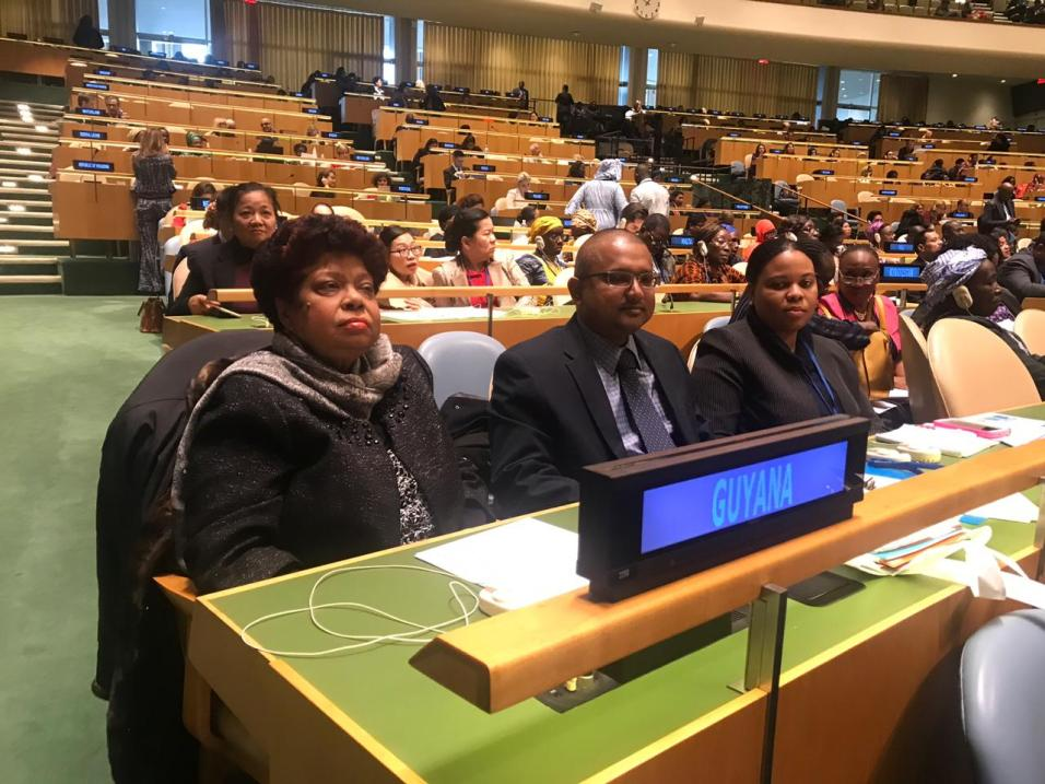 (Front left) Minister of Social Protection, Amna Ally along with Foreign Service Officer III, Mr. Shiraz Mohamed and Ministerial Advisor, Mrs. Alicia Jerome-Reece at the 63rd Session on the Commission on the Status of Women at the United Nations headquarters in New York