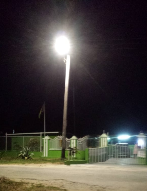 Street lamps in Wakenaam bright up the island.