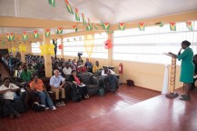 Minister of Education, Dr. Nicolette Henry delivering remarks at Kato Secondary School