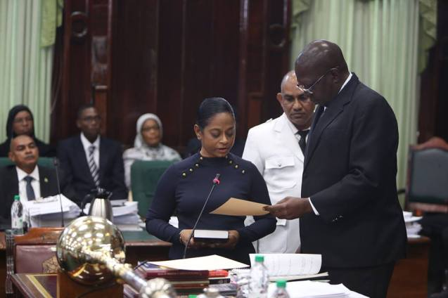Donna Mathoo as she in being sworn in as a Member of the National Parliament