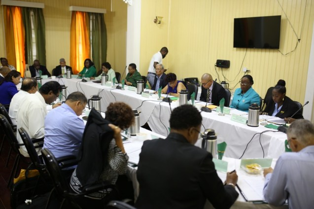 Ministers in Cabinet meeting at State House , New Amsterdam, Berbice.