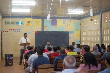 Minister Khemraj Ramjattan addressing residents from Number 63 Village.