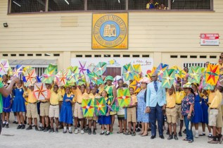 Minister of Education, Dr. Nicolette Henry, the staff and students of West Ruimveldt Primary School.