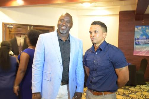 Dwayne Butters founder of the James Courtney Butters Prostate Cancer Awareness Network and Ministry of Public Health, Men's Health Coordinator, Dr. Dennis Bassier at the launch of the network at Herdmanston Lodge.