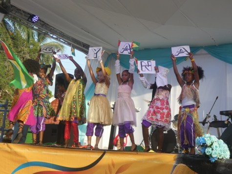 Linden students performing a patriotic dance for the audience.
