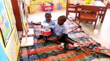Pupils enjoying their music area.