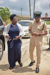Minister Simona Broomes and Assistant Superintendent of Police Amias Benjamin