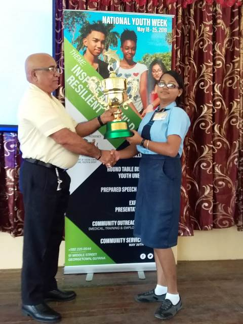 Rebecca Jahoran of the Essequibo Technical Institute copped the first prize along with the prize for best overall speaker.