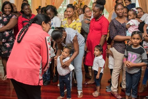 Wife of the Prime Minister, Mrs. Sita Nagamootoo, interacting with the children of Akelo ABC Playgroup and Daycare.
