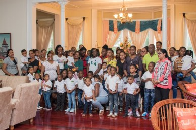 Wife of the Prime Minister, Mrs. Sita Nagamootoo with the teachers, parents and students of Dorette's A to Z Preschool.