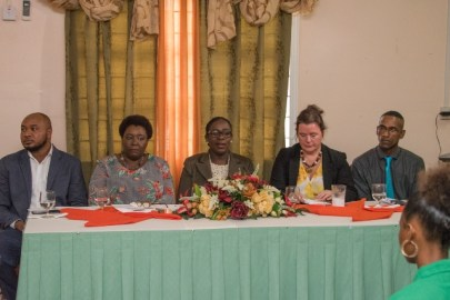 From Left: Representative, Adolescent Health Unit, Travis Freeman, Principal (CHSE), Mryna Lee, Minister of Education Dr. Nicolette Henry, UNICEF.