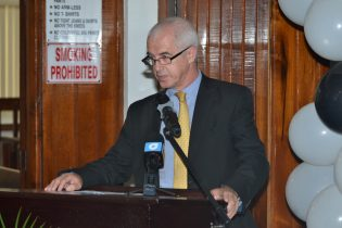 Deputy British High Commissioner, Ray Davidson, while addressing the gathering at the launch, of the Sexual Offences Court in Berbice