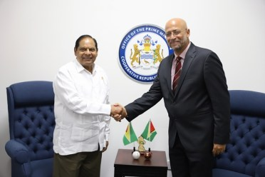 Prime Minister, Moses Nagamootoo and Cricket West Indies (CWI) President, Richard Skerritt.