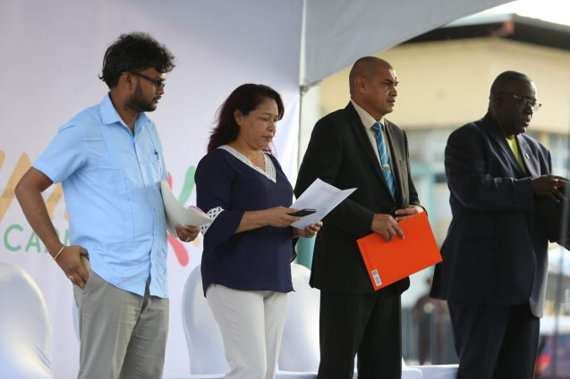 Minister of State, Dawn Hastings-Williams, Minister of Business, Haimraj Rajkumar and Georgetown Mayor, Ubraj Narine and Chairman of the Guyana Carnival Committee.