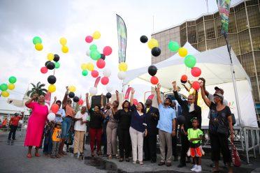 Minister of State, Dawn Hastings-Williams, Minister of Business, Haimraj Rajkumar and Georgetown Mayor, Ubraj Narine join patrons to usher in Guyana Carnival 2019.