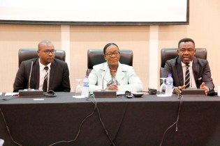 (from left) Guyana Football Federation President, Mr. Wayne Forde, Minister of Education, Dr. the Hon. Nicolette Henry and FIFA Member Association and Development Director, Mr. Veron Mosgengo-Omba (Ministry of Education photo)