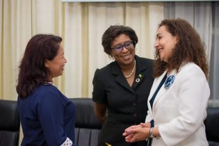 Minister of State, Dawn Hastings-Williams, Minister of Public Telecommunications, Catherine Hughes and ITU Senior Programme Officer, Roxana Widmer Ilierscu.