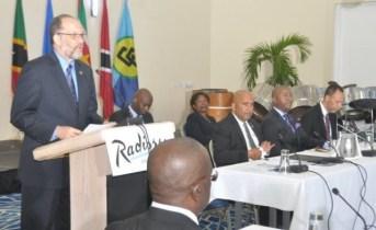 Secretary-General of the Caribbean Community(CARICOM), Irwin Larocque, speaking at the COFCOR meeting in Grenada.