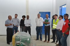 Minister of Communities, Hon. Ronald Bulkan, Managing-Director of GWI, Dr. Richard Van-West-Charles and a team from IDB inspecting the Diamond Water Treatment Plant.