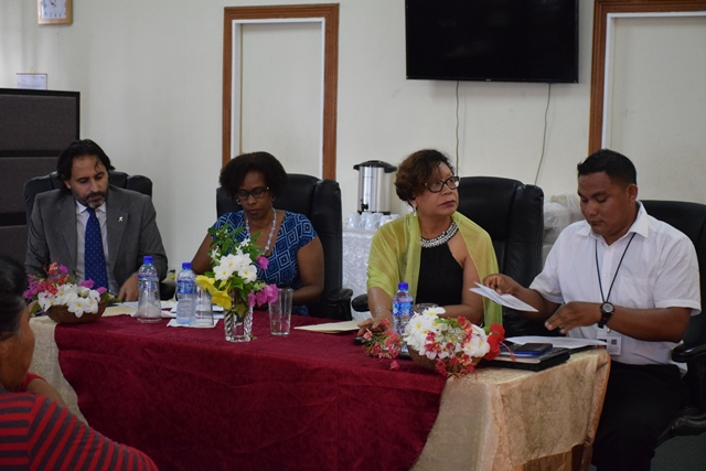 Minister within the Ministry of Indigenous Peoples' Affairs, Valerie Garrido-Lowe, FAO Country Representative, Gillian Smith and the EU Delegation Representative, Frederico Suarez and Executive member of the National Toshaos Council (NTC), Toshao Russian Dorrick.