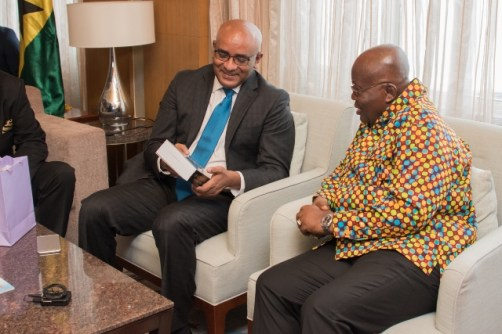 President of the Republic of Ghana, Nana Akufo-Addo meeting with Opposition Leader, Bharrat Jagdeo at the Marriott Hotel in Georgetown.