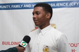 Student of Charlestown Secondary, Manasseh Carrington.