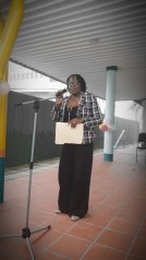Regional Executive Officer Jennifer Ferreira-Dougall addressing the parents at the orientation session