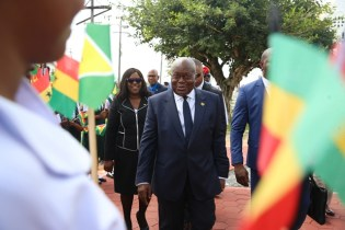 President of the Republic of Ghana, Nana Akufo-Addo makes his way to the Non-Aligned Monument. Also, in the photo is Minister of Foreign Affairs, Dr. Karen Cummings.