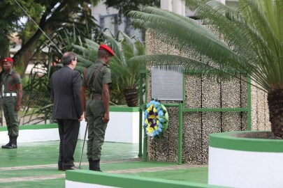 Cuba's Foreign Minister, Bruno Gonzalez Parrilla paid a floral tribute at Guyana's Independence Arch.